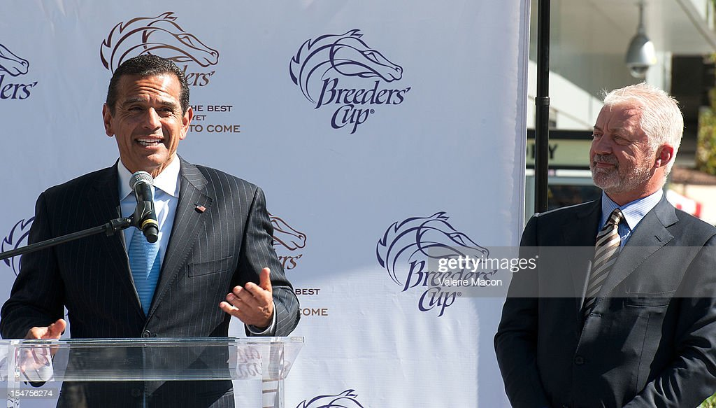 Antonio Villaraigosa and Keith Brackpool attend the Breeders' Cup Press Conference at Nokia Plaza L.A. LIVE on October 25, 2012 in Los Angeles, California.