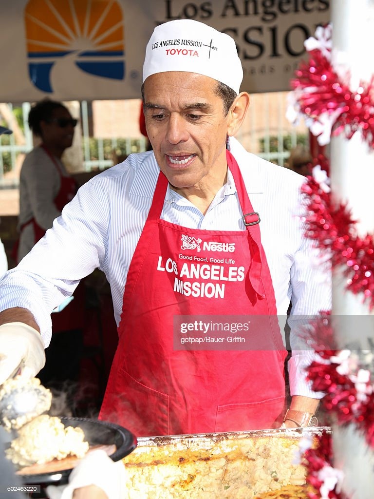 Antonio Villaraigosa is seen at the annual Los Angeles Mission Christmas Dinner on December 24 2015 in Los Angeles California