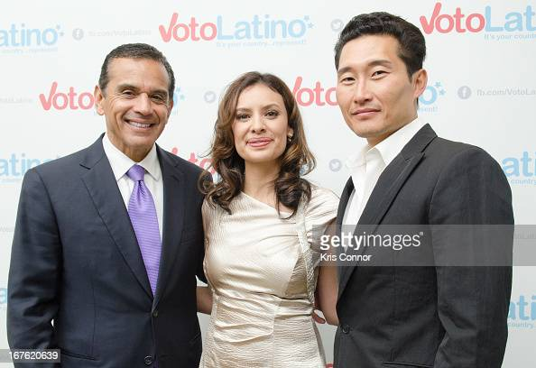 Antonio Villaraigosa Maria Teresa Kumar and Danial Dae Kim pose for a photo during the 4th Annual Our Voices Celebrating Diversity in Media reception...