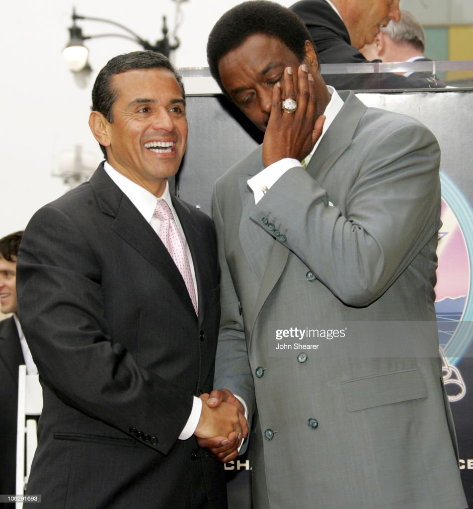 Antonio Villaraigosa Mayor and Jim Hill during Jim Hill Honored With a Star on the Hollywood Walk of Fame in Los Angeles California United States