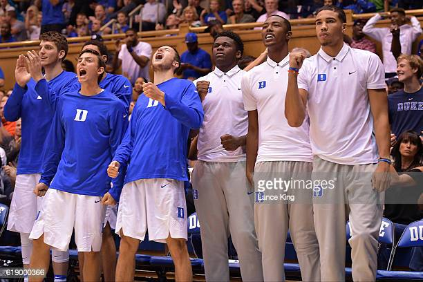Antonio Vrankovic Nick Pagliuca Brennan Besser Sean Obi Harry Giles and Jayson Tatum of the Duke Blue Devils react during their game against the...