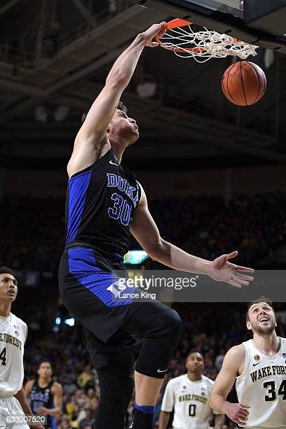 Antonio Vrankovic of the Duke Blue Devils dunks the ball against the Wake Forest Demon Deacons at LJVM Coliseum Complex on January 28 2017 in...