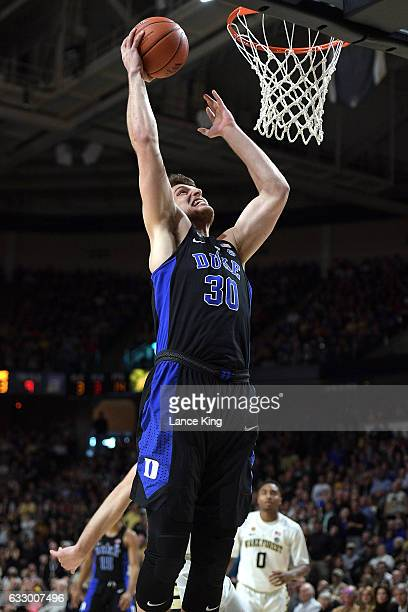 Antonio Vrankovic of the Duke Blue Devils goes up for a dunk against the Wake Forest Demon Deacons at LJVM Coliseum Complex on January 28 2017 in...