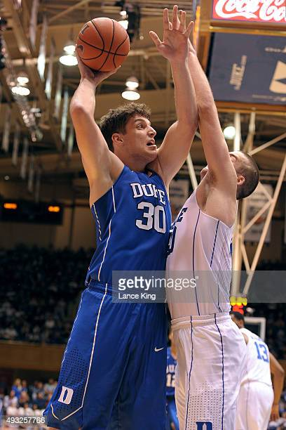 Antonio Vrankovic puts up a shot against Marshall Plumlee of the Duke Blue Devils during Countdown to Craziness at Cameron Indoor Stadium on October...