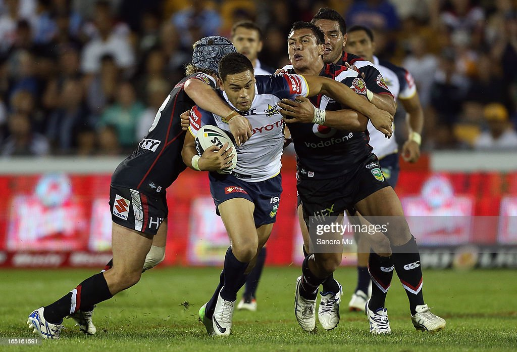 Antonio Winterstein of the Cowboys is tackled during the round four NRL match between the New Zealand Warriors and the North Queensland Cowboys at Mt Smart Stadium on April 1, 2013 in Auckland, New Zealand.