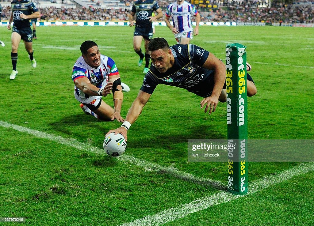 Antonio Winterstein of the Cowboys scores a try during the round 13 NRL match between the North Queensland Cowboys and the Newcastle Knights at 1300SMILES Stadium on June 4, 2016 in Townsville, Australia.