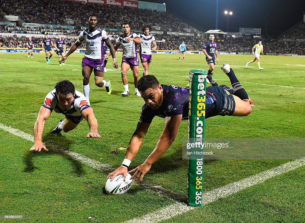 Antonio Winterstein of the Cowboys scores a try during the round 21 NRL match between the North Queensland Cowboys and the Melbourne Storm at 1300SMILES Stadium on July 30, 2016 in Townsville, Australia.