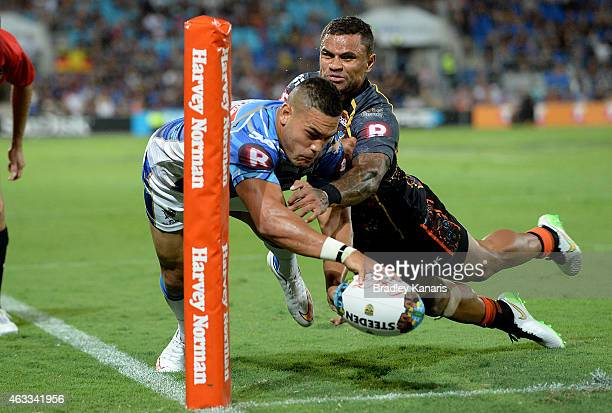 Antonio Winterstein of the NRL All Stars has this try disallowed during the NRL preseason match between the Indigenous All Stars and the NRL All...