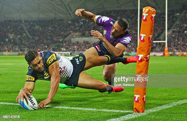 Antonio Winterstein the Cowboys dives to score a try which was later disallowed by the video referee during the NRL Second Preliminary Final match...