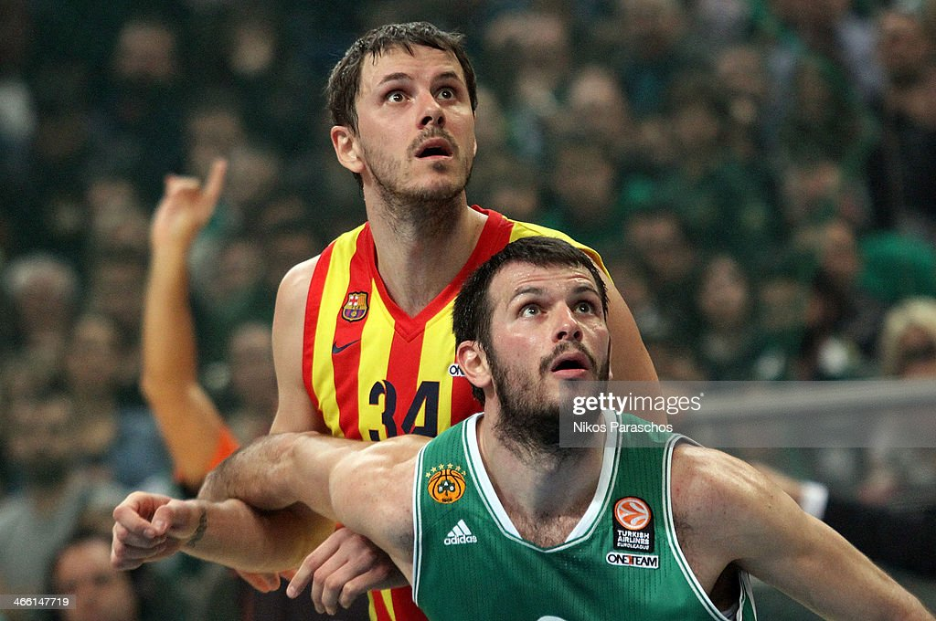 Antonis Fotsis, #9 of Panathinaikos Athens competes with <a gi-track='captionPersonalityLinkClicked' href=/galleries/search?phrase=Bostjan+Nachbar&family=editorial&specificpeople=202138 ng-click='$event.stopPropagation()'>Bostjan Nachbar</a>, #34 of FC Barcelona during the 2013-2014 Turkish Airlines Euroleague Top 16 Date 5 game between Panathinaikos Athens v FC Barcelona Regal at Olympic Sports Center Athens on January 31, 2014 in Athens, Greece.