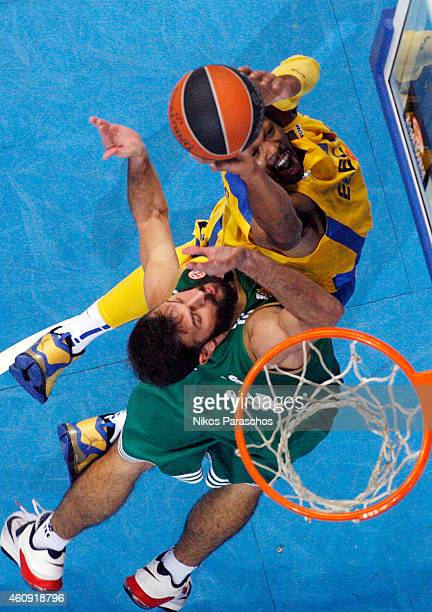 Antonis Fotsis #9 of Panathinaikos Athens competes with Jeremy Pargo #4 of Maccabi Electra Tel Aviv during the Euroleague Basketball Top 16 Date 1...