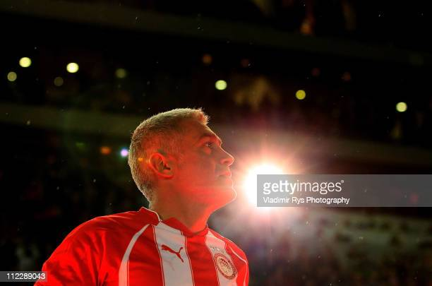 Antonis Nikopolidis of Olympiacos is pictured after his last match of his career following the the Super League match between Olympiacos and Larissa...