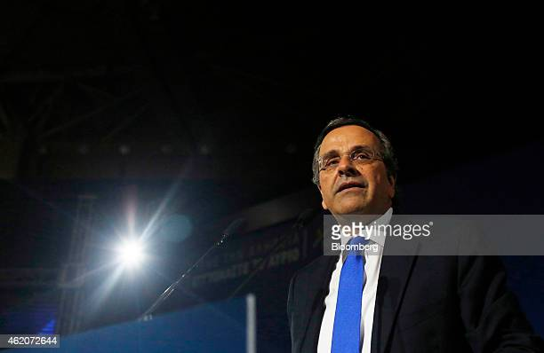 Antonis Samaras Greece's prime minister pauses while speaking at his final preelection rally in Palaio Faliro near Athens Greece on Friday Jan 23...