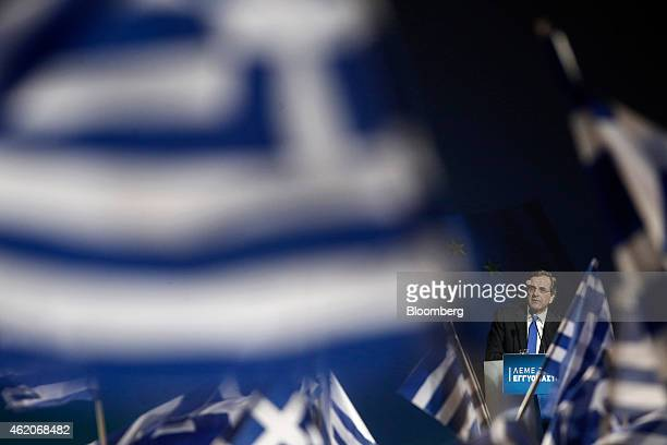 Antonis Samaras Greece's prime minister pauses while speaking to supporters during his final preelection rally in Palaio Faliro near Athens Greece on...