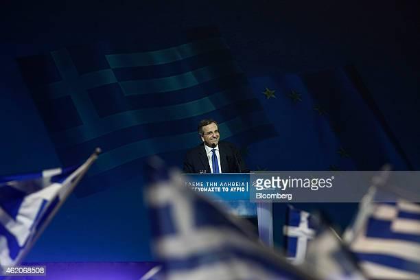 Antonis Samaras Greece's prime minister smiles during his final preelection rally in Palaio Faliro near Athens Greece on Friday Jan 23 2015 Greek...