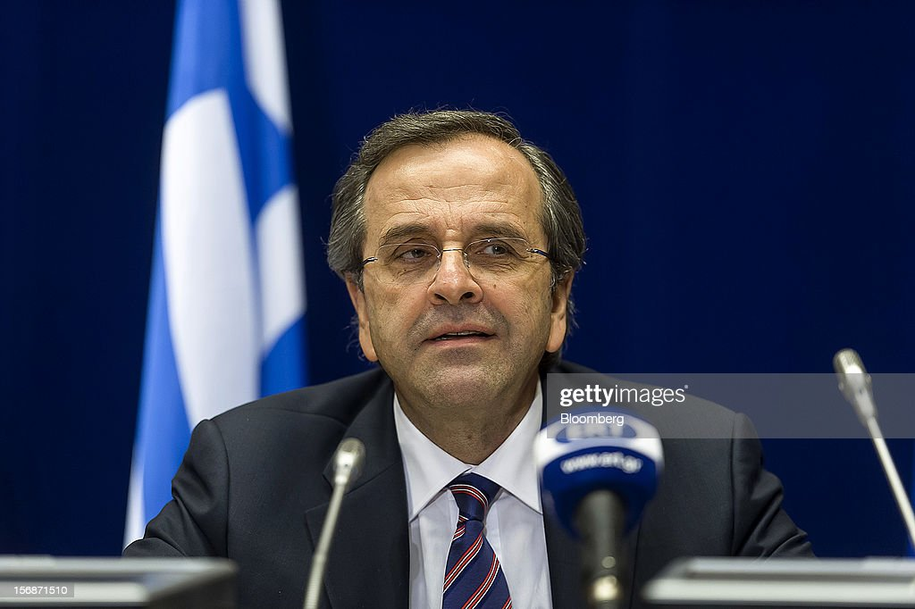 <a gi-track='captionPersonalityLinkClicked' href=/galleries/search?phrase=Antonis+Samaras&family=editorial&specificpeople=970799 ng-click='$event.stopPropagation()'>Antonis Samaras</a>, Greece's prime minister, speaks at a news conference following the European Union (EU) leaders summit meeting at the European Council headquarters in Brussels, Belgium, on Friday, Nov. 23, 2012. European Union leaders deadlocked over the bloc's next seven-year budget, adding to the quarrels between rich and poor countries that have stymied the response to the euro debt crisis. Photographer: Jock Fistick/Bloomberg via Getty Images