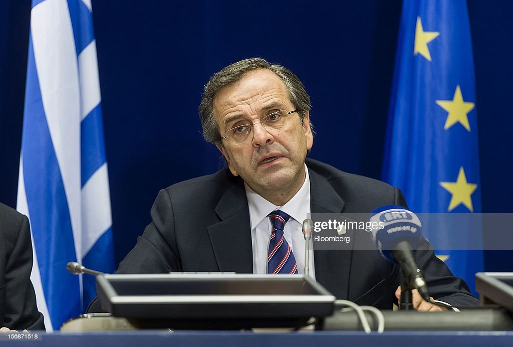 Antonis Samaras, Greece's prime minister, speaks at a news conference following the European Union (EU) leaders summit meeting at the European Council headquarters in Brussels, Belgium, on Friday, Nov. 23, 2012. European Union leaders deadlocked over the bloc's next seven-year budget, adding to the quarrels between rich and poor countries that have stymied the response to the euro debt crisis. Photographer: Jock Fistick/Bloomberg via Getty Images