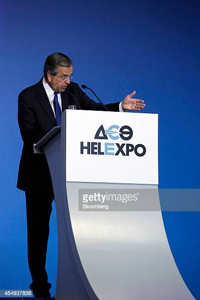Antonis Samaras Greece's prime minister speaks during the Thessaloniki International Fair in Thessaloniki Greece on Saturday Sept 6 2014 Samaras's...