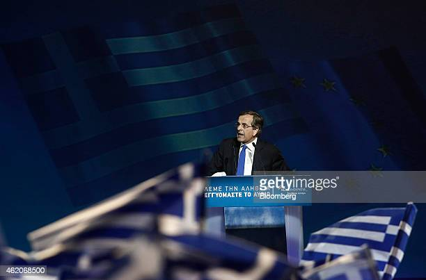 Antonis Samaras Greece's prime minister speaks to supporters during his final preelection rally in Palaio Faliro near Athens Greece on Friday Jan 23...