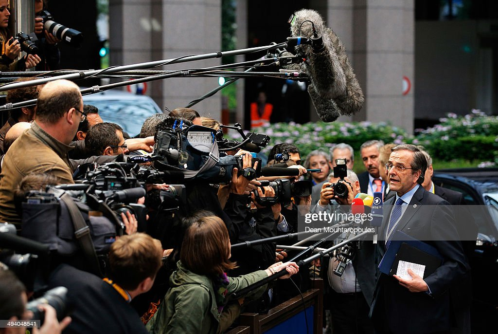 <a gi-track='captionPersonalityLinkClicked' href=/galleries/search?phrase=Antonis+Samaras&family=editorial&specificpeople=970799 ng-click='$event.stopPropagation()'>Antonis Samaras</a>, Prime Minister of Greece, speaks to the media prior to the Informal Dinner of Heads of State or Government held at the Justus Lipsius Building on May 27, 2014 in Brussels, Belgium. Voting in the European elections resulted in significant gains for Eurosceptic parties in several countries across the continent in what has been described as a political 'earthquake'.