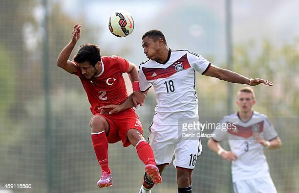 AntonLeander Donkor of Germany challenges Sabit Hakan Yilmaz of Turkey during the international friendly match between U18 Germany and U18 Turkey on...