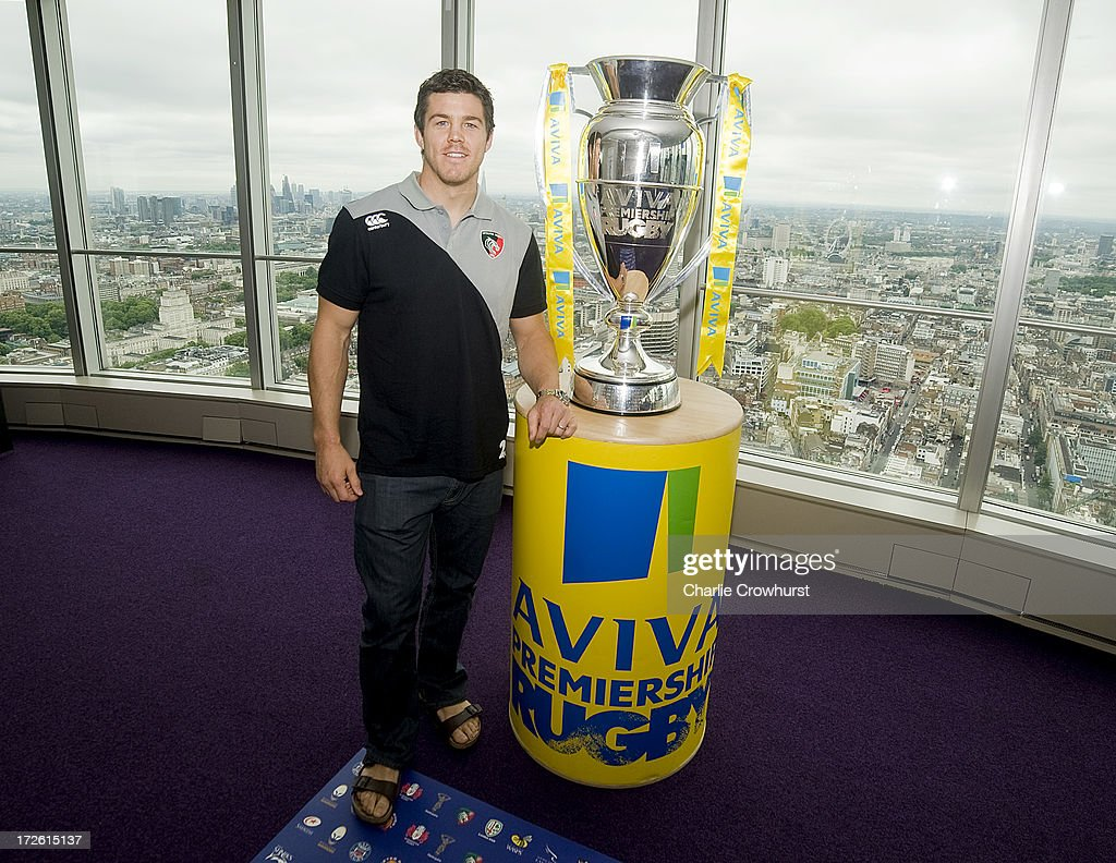 Antony Allen of Leicester Tigers stands with the Aviva Premiership Trophy during the 2013-14 Aviva Premiership Rugby Season Fixtures Announcement at The BT Tower on July 4, 2013 in London, England.