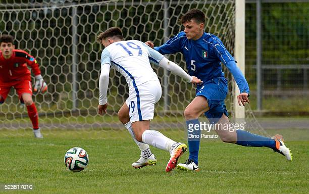 Antony Angileri of Italy U15 competes with Duncan Bobby of England U15 during the U15 International Tournament match between Italy and England at...