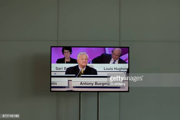 Antony Burgmans chairman of Akzo Nobel NV is displayed on a screen ahead of a shareholders' meeting in Amsterdam Netherlands on Tuesday April 25 2017...