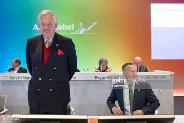 Antony Burgmans chairman of Akzo Nobel NV left and Thierry Vanlancker chief executive officer of Akzo Nobel NV arrive for a shareholder meeting at...