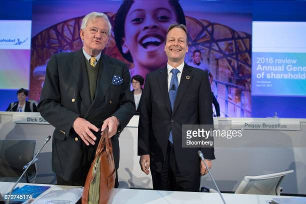 Antony Burgmans chairman of Akzo Nobel NV left and Ton Buechner chief executive officer of Akzo Nobel NV arrive for a shareholders' meeting in...