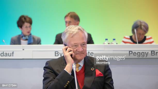 Antony Burgmans chairman of Akzo Nobel NV speaks on a mobile phone during a shareholder meeting in Amsterdam Netherlands on Friday Sept 8 2017 Akzo...