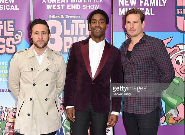 Antony Costa Simon Webbe and Lee Ryan attend a VIP performance of 'The Three Little Pigs' at Palace Theatre on August 6 2015 in London England