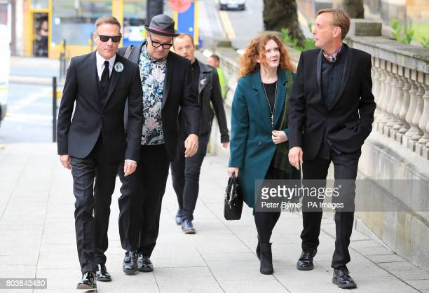 Antony Cotton and Jennie McAlpine arrive at the funeral service of Martyn Hett who was killed in the Manchester Arena bombing at Stockport Town Hall...