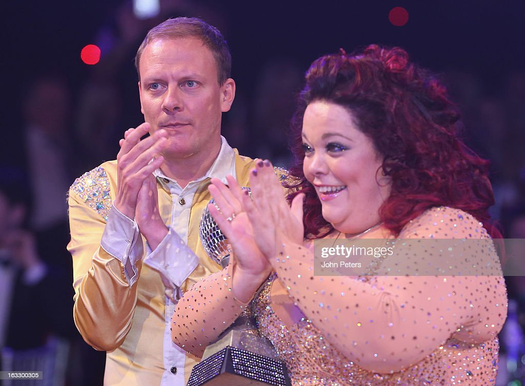 Antony Cotton and Lisa Riley pose with the winners' trophy as part of Dancing with United, in aid of the Manchester United Foundation, at Old Trafford on March 7, 2013 in Manchester, England.