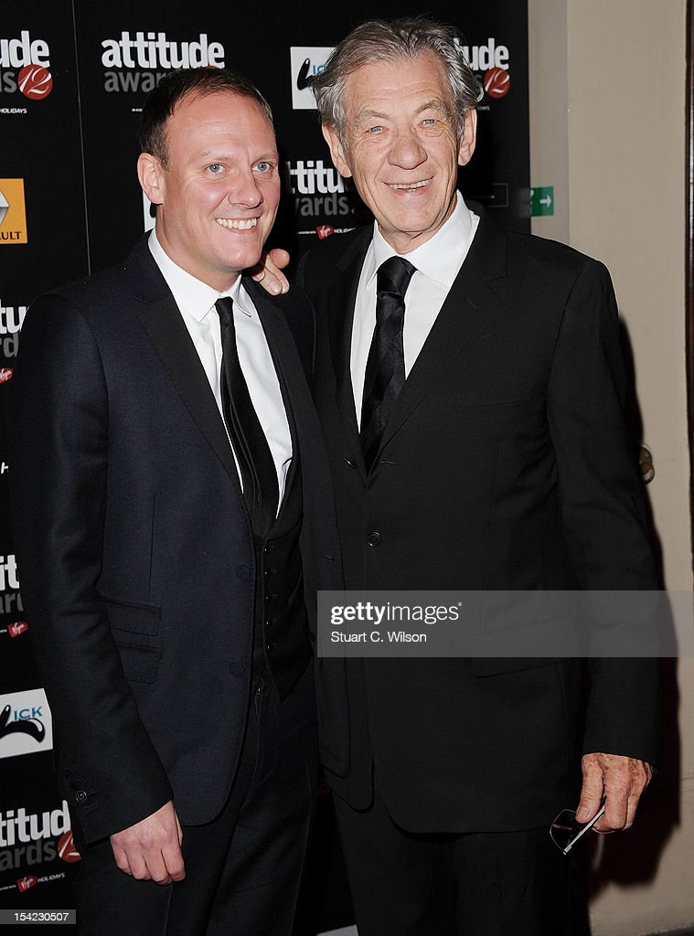 <a gi-track='captionPersonalityLinkClicked' href=/galleries/search?phrase=Antony+Cotton&family=editorial&specificpeople=626694 ng-click='$event.stopPropagation()'>Antony Cotton</a> and Sir Ian Mckellan attend the Attitude Magazine Awards at One Mayfair on October 16, 2012 in London, England.