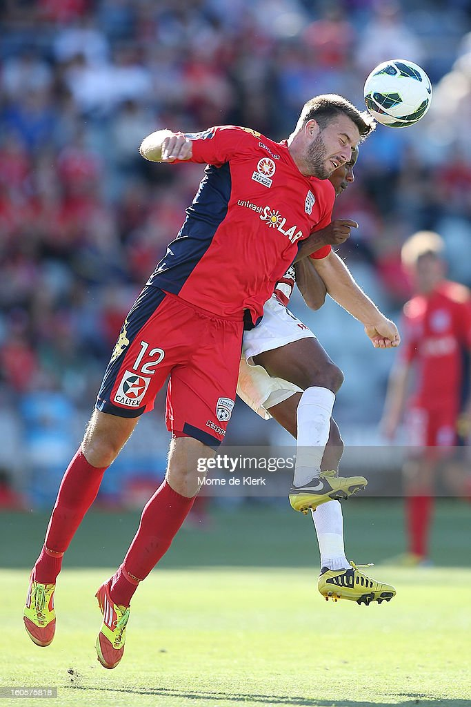 Antony Golec of Adelaide wins the ball during the round 19 A-League match between Adelaide United and the Western Sydney Wanderers at Hindmarsh Stadium on February 3, 2013 in Adelaide, Australia.