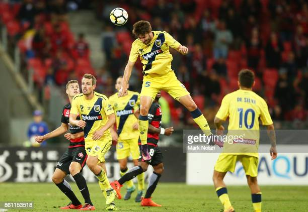 Antony Golec of the Mariners in action during the round two ALeague match between the Western Sydney Wanderers and the Central Coast Mariners at...