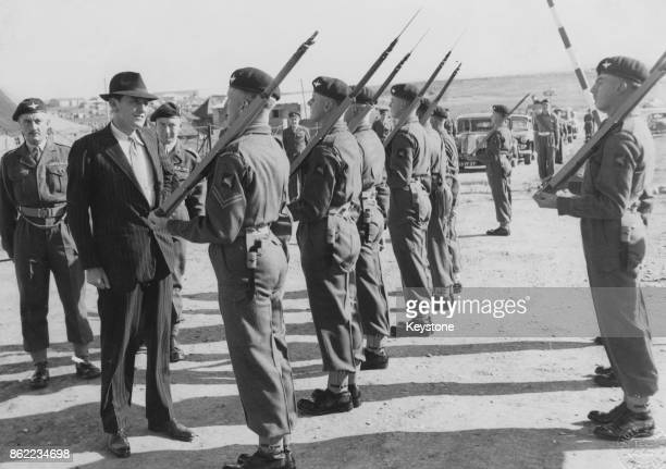 Antony Head the Secretary of State for War visits the men of the 1st Battalion Parachute Regiment at Wolseley Barracks Nicosia Cyprus 7th March 1956