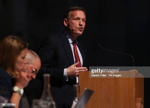 Antony Jenkins Group Chief Executive of Barclays speaks on the subject of good banks at St Paul's Cathedral London during the St Paul's Institute and...