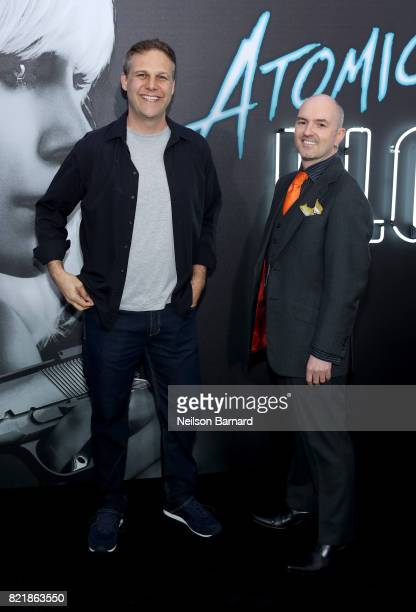 Antony Johnston and Sam Hart attend Focus Features' 'Atomic Blonde' premiere at The Theatre at Ace Hotel on July 24 2017 in Los Angeles California