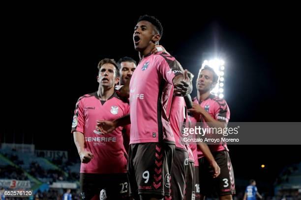 Antony Lozano of CD Tenerife celebrates scoring their opening goal during the La Liga second league match between Getafe CF and CD Tenerife at...