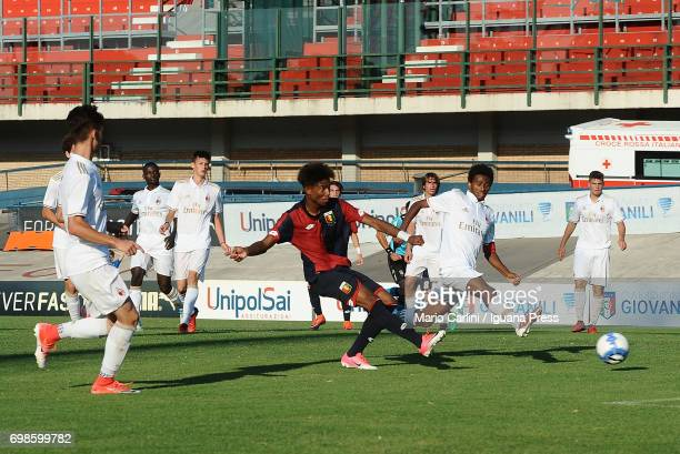 Antony Salcedo Mora of Genoa CFC kicks towards the goal during the U16 Serie A Semifinal match between Ac Milan and Genoa CFC on June 20 2017 in...