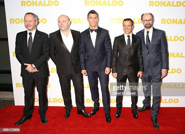 Antony Wonke Paul Martin Cristiano Ronaldo Jorge Mendes and James GayRees attend the World Premiere of 'Ronaldo' at the Vue West End on November 9...
