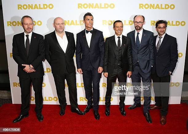 Antony Wonke Paul Martin Cristiano Ronaldo Jorge Mendes James GayRees and Asif Kapadia attend the World Premiere of 'Ronaldo' at the Vue West End on...