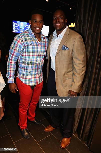 Antrel Rolle and Kevin Boothe attend the NY Giants Justin Tuck's 5th Annual Celebrity Billiards Tournament on May 30 2013 in New York City