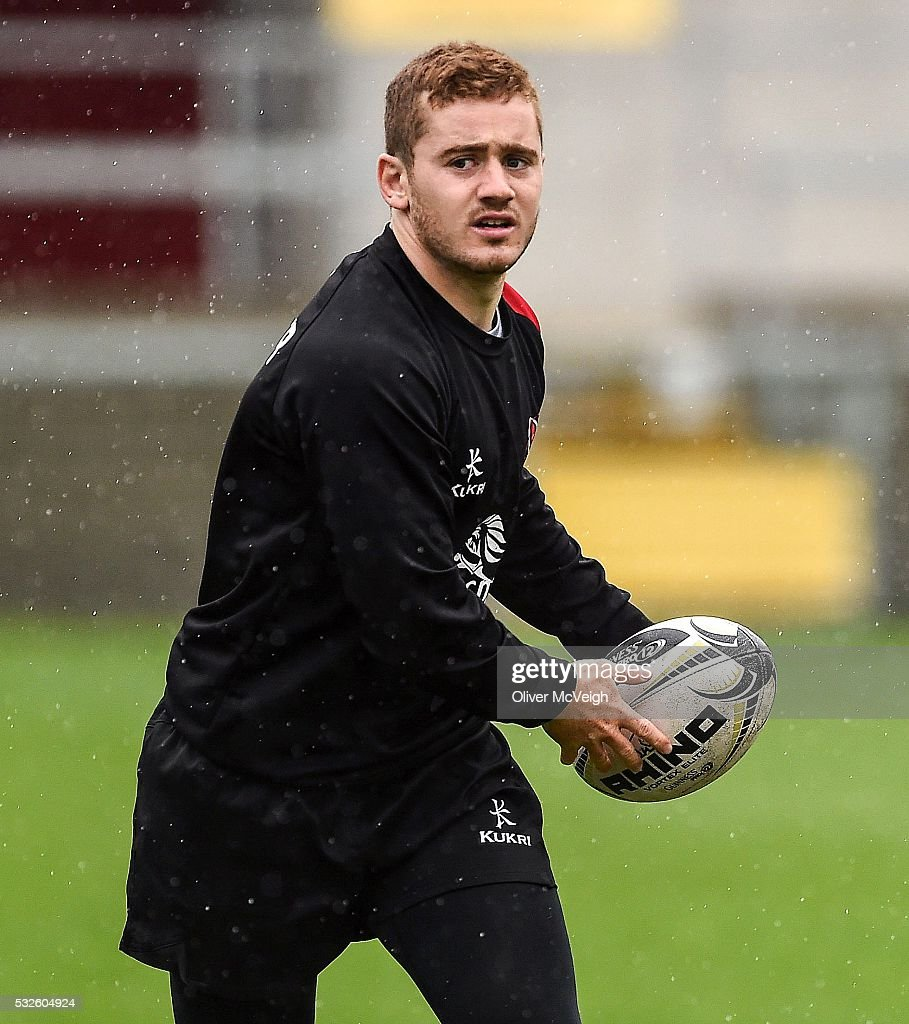 Antrim , Ireland - 19 May 2016; Paddy Jackson of Ulster during the captains run at the Kingspan Stadium, Ravenhill Park, Belfast.