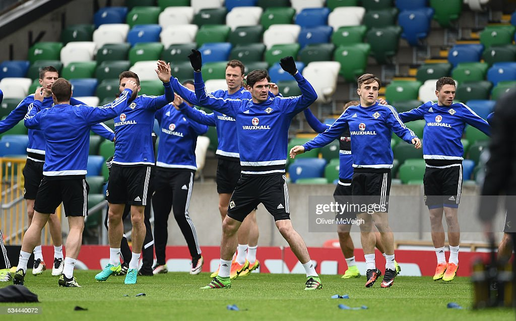 Antrim , Ireland - 26 May 2016; A general view of the Northern Ireland team during squad training at Windsor Park, Belfast, Co. Antrim.