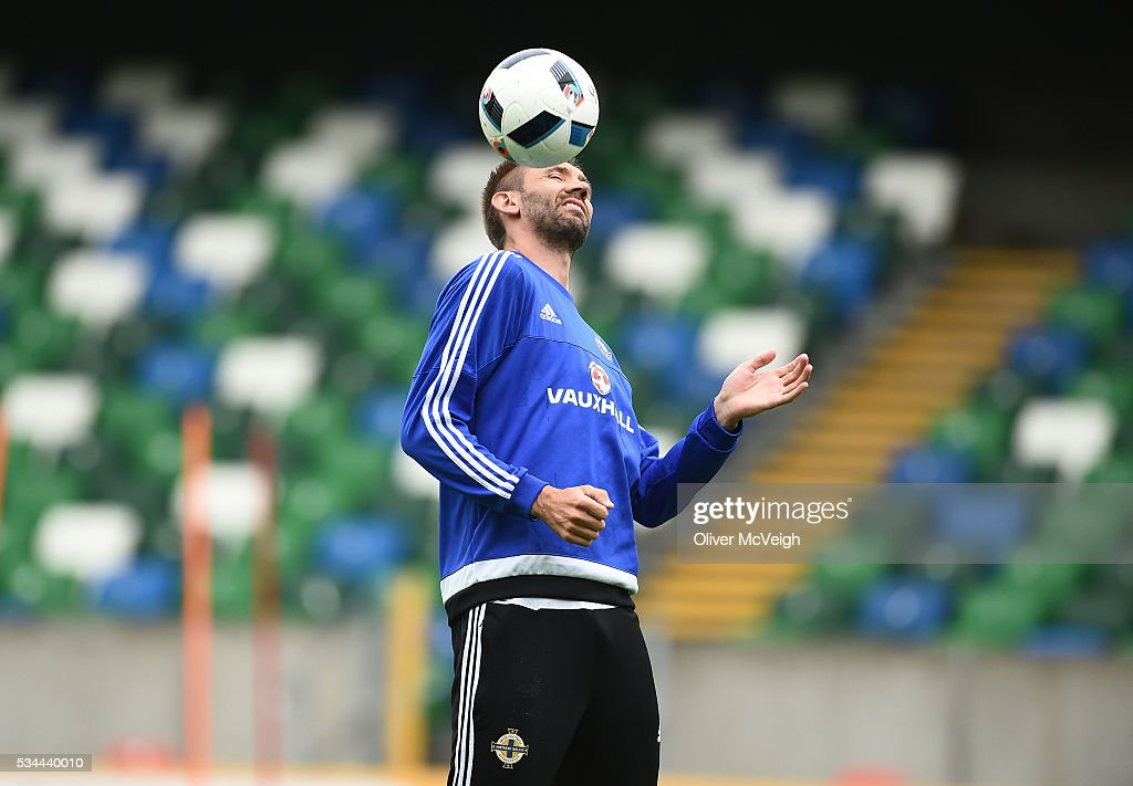 Antrim , Ireland - 26 May 2016; Gareth McAuley of Northern Ireland during squad training at Windsor Park, Belfast, Co. Antrim.