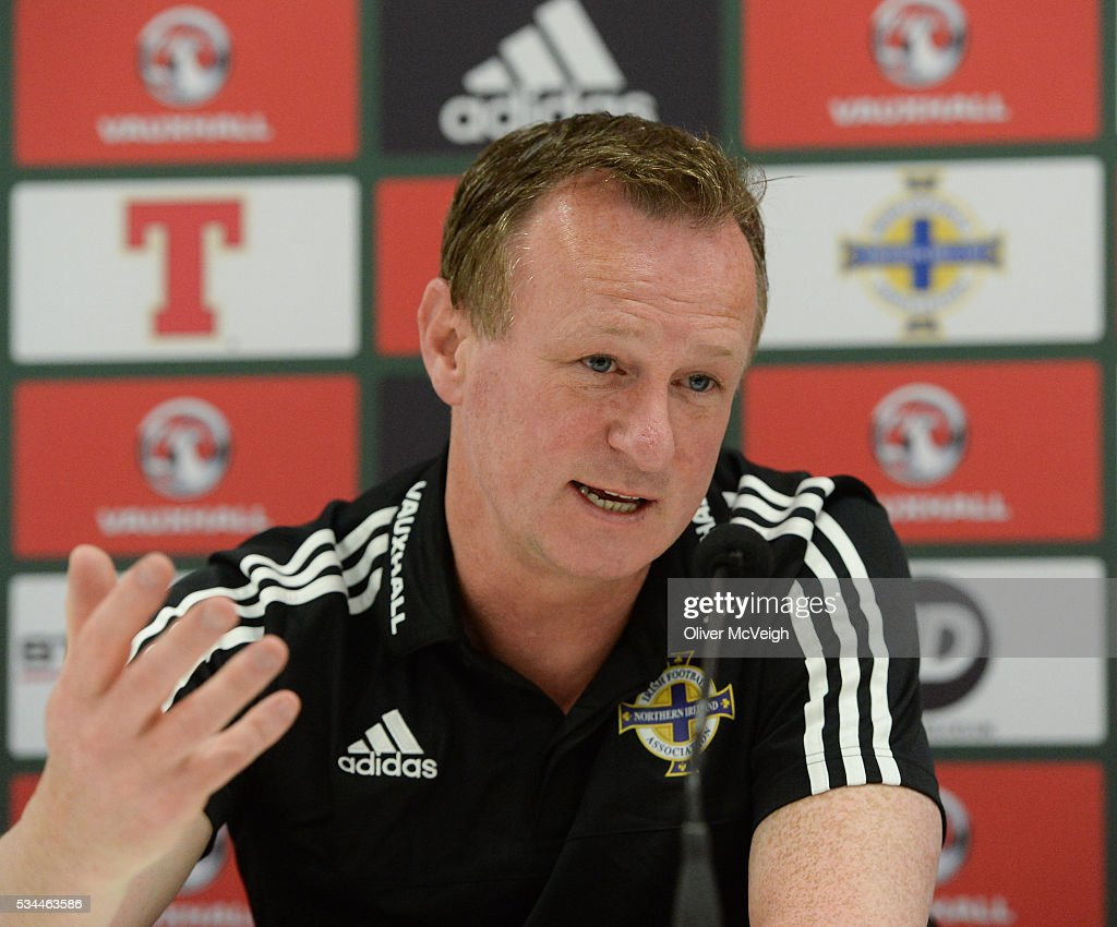 Antrim , Ireland - 26 May 2016; Manager Michael O'Neill of Northern Ireland during a press conference at Windsor Park, Belfast, Co. Antrim.