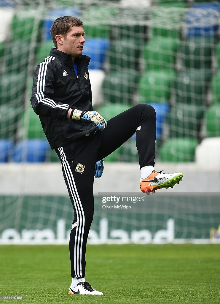 Antrim , Ireland - 26 May 2016; Michael McGovern of Northern Ireland during squad training at Windsor Park, Belfast, Co. Antrim.